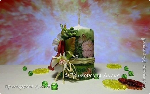 Белая обычная свеча превращается в яркий элемент декора и неповторимый, романтичный подарок))) Всё довольно просто и быстро. фото 2