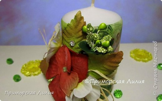Белая обычная свеча превращается в яркий элемент декора и неповторимый, романтичный подарок))) Всё довольно просто и быстро. фото 4