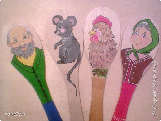 """Театр на лопатках """"Три медведя"""". Лопатки выполнены электролобзиком из фанеры. Роспись акриловыми красками, лак акриловый. фото 2"""