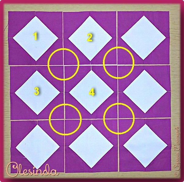 Здравствуйте! Многие мастерицы лоскутного шитья знакомы с техникой пэчворк «Кафедральные окна» или, как ее еще называют, «Витражные окна», «Домский витраж», «Готические окна», «Церковные окна» и «Магический квадрат». Также как и названий, существует несколько способов создания такого блока. В этом мастер-классе я покажу 5 из них.  (Все приведенные ниже приемы придуманы не мной, я лишь собрала их для вас в одном посте.) фото 52