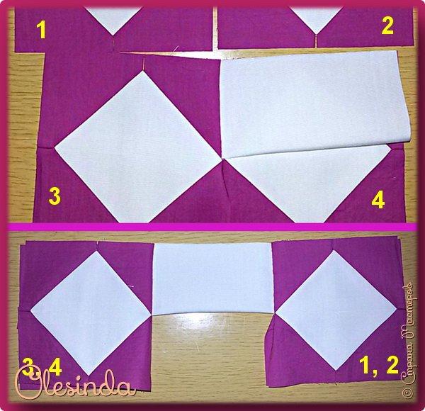 Здравствуйте! Многие мастерицы лоскутного шитья знакомы с техникой пэчворк «Кафедральные окна» или, как ее еще называют, «Витражные окна», «Домский витраж», «Готические окна», «Церковные окна» и «Магический квадрат». Также как и названий, существует несколько способов создания такого блока. В этом мастер-классе я покажу 5 из них.  (Все приведенные ниже приемы придуманы не мной, я лишь собрала их для вас в одном посте.) фото 56