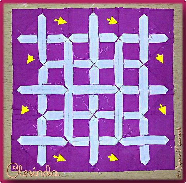 Здравствуйте! Многие мастерицы лоскутного шитья знакомы с техникой пэчворк «Кафедральные окна» или, как ее еще называют, «Витражные окна», «Домский витраж», «Готические окна», «Церковные окна» и «Магический квадрат». Также как и названий, существует несколько способов создания такого блока. В этом мастер-классе я покажу 5 из них. (Все приведенные ниже приемы придуманы не мной, я лишь собрала их для вас в одном посте.) фото 60