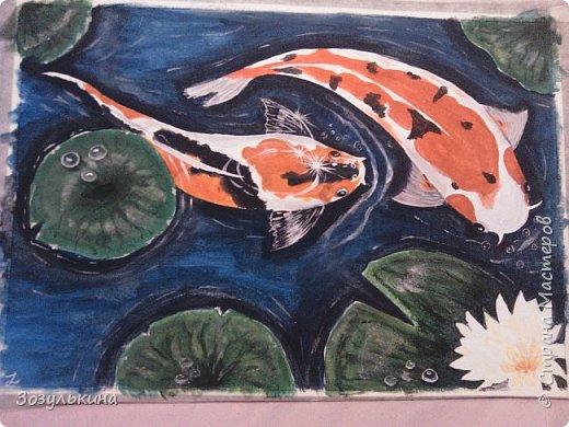 нарисовались рыбки по мотивам одного МК на ютубе, там была 1 рыбка, но я подумала что одно ей будет скучно ))))) Да и по феншую две лучше! фото 1