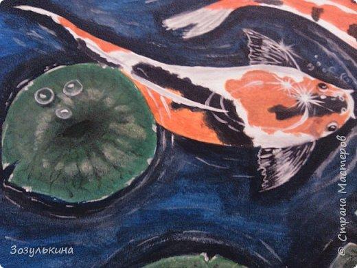 нарисовались рыбки по мотивам одного МК на ютубе, там была 1 рыбка, но я подумала что одно ей будет скучно ))))) Да и по феншую две лучше! фото 2