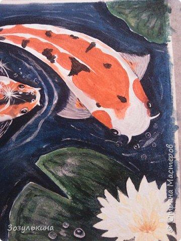нарисовались рыбки по мотивам одного МК на ютубе, там была 1 рыбка, но я подумала что одно ей будет скучно ))))) Да и по феншую две лучше! фото 3