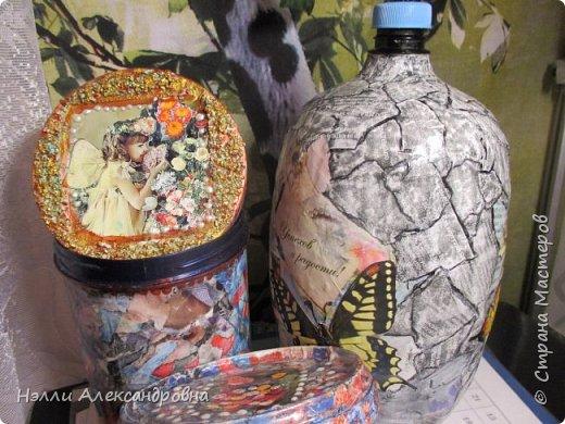 Увидела  в СМ какие красивые могут быть обычные бутылки или банки, если их обклеить глянцевыми страницами ненужных журналов. Но так как вся макулатура выбрасывается нашла всего несколько журнальчиков. фото 4