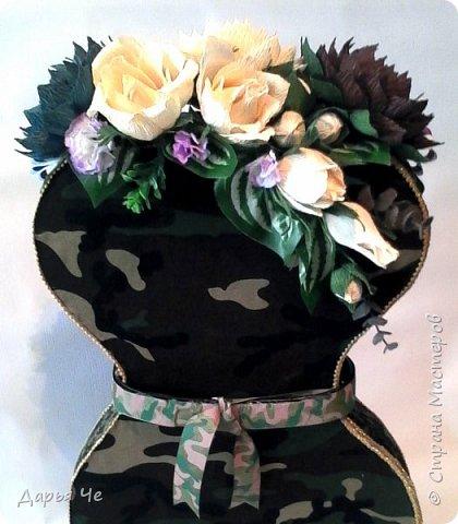 Всем здравствуйте. Все женщины готовятся к 23 февраля, и моя тоже. Делала по МК Я Манюня http://stranamasterov.ru/node/823112?c=favorite, идея оформления https://vk.com/club86755641 фото 5