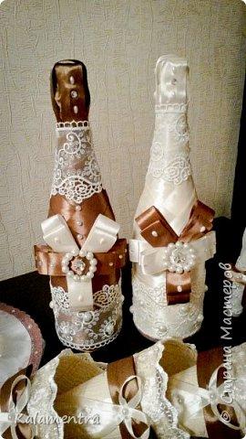 Свадебные бутылочки и бокалы фото 4