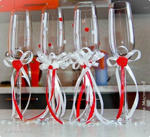Свадебные бутылочки и бокалы фото 14