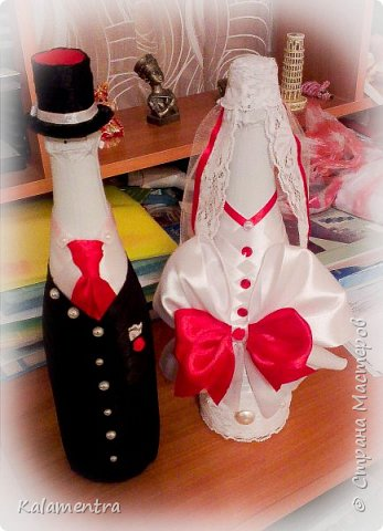 Свадебные бутылочки и бокалы фото 11