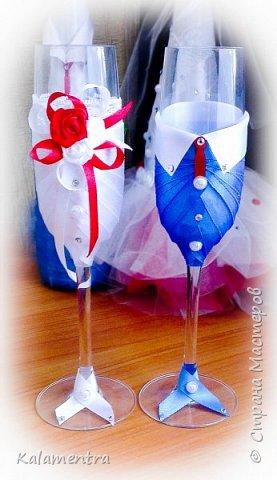 Свадебные бутылочки и бокалы фото 8