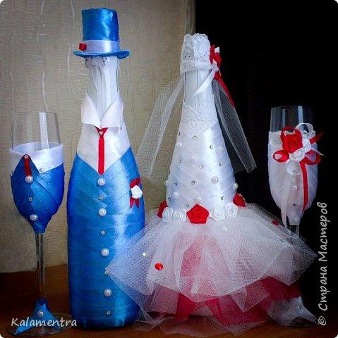 Свадебные бутылочки и бокалы фото 5