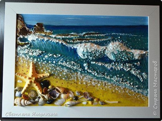 """И снова...здравствуйте жители СМ! Представляю Вам новую работу, выполнена так же как и  панно """"Зимний закат.""""  http://stranamasterov.ru/node/979934 Небо и песок) нарисованы на ватмане под стеклом, всё остальное поверх стекла. .Размер рамки 33х25 см. фото 1"""