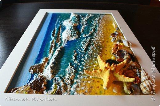 """И снова...здравствуйте жители СМ! Представляю Вам новую работу, выполнена так же как и  панно """"Зимний закат.""""  http://stranamasterov.ru/node/979934 Небо и песок) нарисованы на ватмане под стеклом, всё остальное поверх стекла. .Размер рамки 33х25 см. фото 8"""