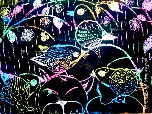 Рисуем кошку с птичками. фото 30