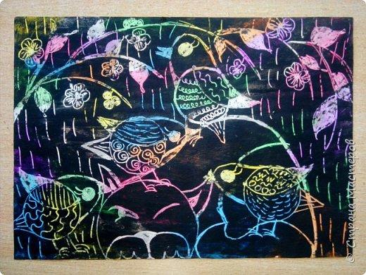 Рисуем кошку с птичками. фото 29