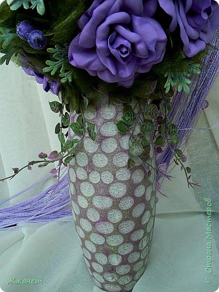 Ваза из дерева.Цветы из фома. фото 3
