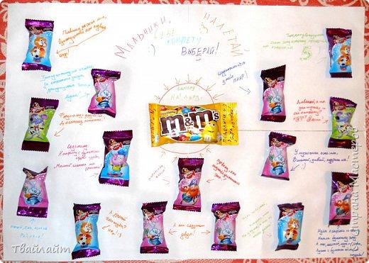 """Очень понравилась идея подарка Анютки http://stranamasterov.ru/node/894106?c=favorite. Захотелось всех мальчишек нашего класса одновременно так поздравить. Получилась веселая газета: """"Мальчики, налетай, себе конфету выбирай!""""  фото 1"""