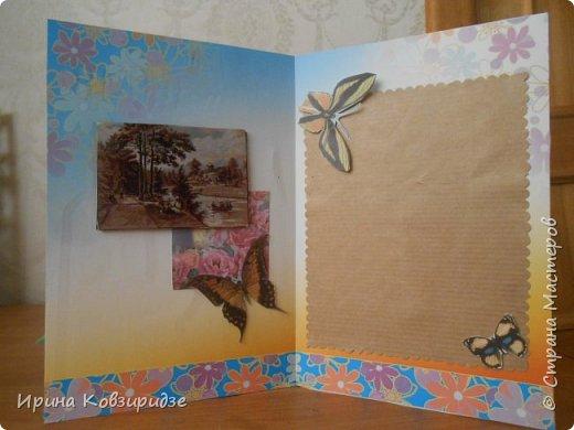 Эти открытки я сделала с перьями павлина, они напоминают мне траву. Напридумывала, что могла и из чего могла. фото 10