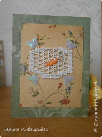 Эти открытки я сделала с перьями павлина, они напоминают мне траву. Напридумывала, что могла и из чего могла. фото 6