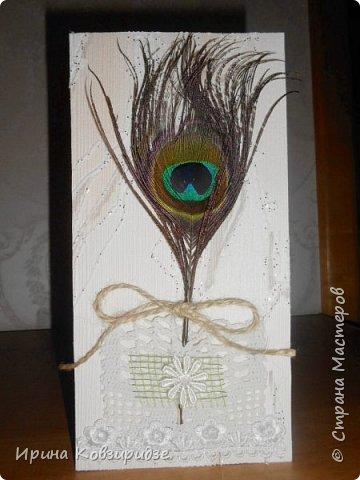 Эти открытки я сделала с перьями павлина, они напоминают мне траву. Напридумывала, что могла и из чего могла. фото 12