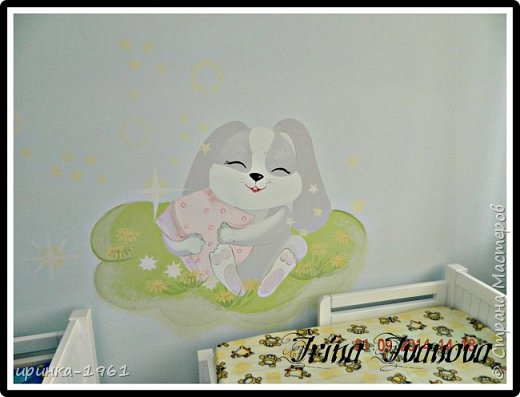 Художественная роспись на стене в детской спальне ДОУ фото 1