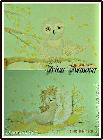 Художественная роспись на стене в детской спальне ДОУ фото 2