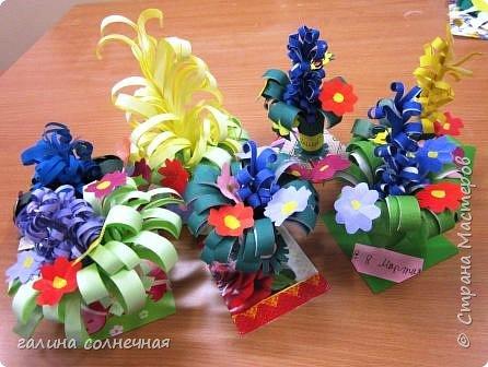 Здравствуйте. Готовимся с детьми к 8 марта.  Учимся делать букеты цветов. Яркие, красивые. фото 1