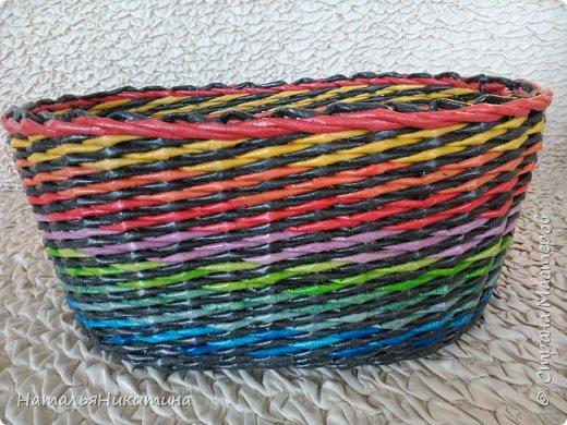 Мои радужные плетенки. Утилизировала остатки цветных трубочек. Веселенькие получились. фото 4