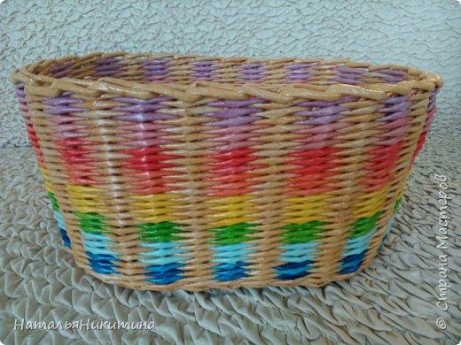 Мои радужные плетенки. Утилизировала остатки цветных трубочек. Веселенькие получились. фото 6