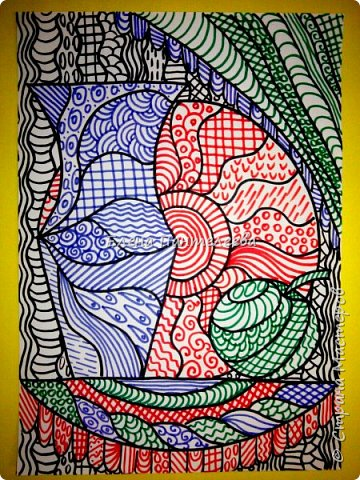 Учитывая пожелание хорошего человека, предлагаю нарисовать простой декоративный натюрморт. фото 17