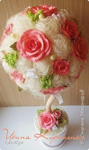 Топиарий из сизаля с цветами из фоамирана  фото 3