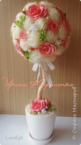 Топиарий из сизаля с цветами из фоамирана  фото 2