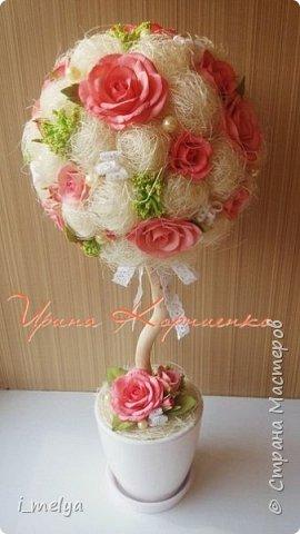 Топиарий из сизаля с цветами из фоамирана  фото 5