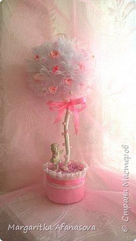 """Топиарий """"Розовая нежность"""" ....Мои первые розочки из атласных лент фото 3"""