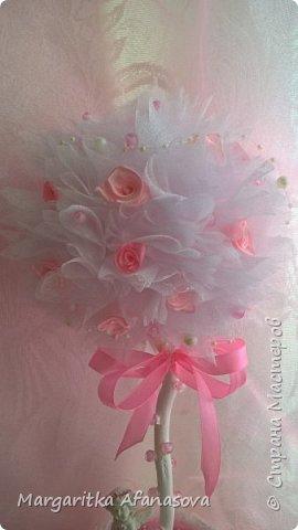"""Топиарий """"Розовая нежность"""" ....Мои первые розочки из атласных лент фото 4"""
