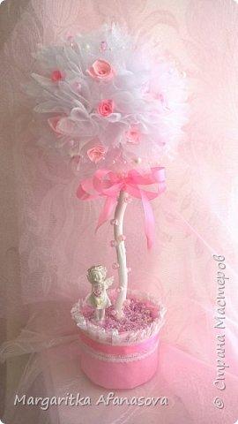 """Топиарий """"Розовая нежность"""" ....Мои первые розочки из атласных лент фото 1"""