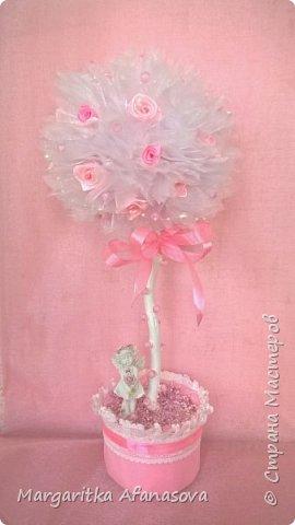 """Топиарий """"Розовая нежность"""" ....Мои первые розочки из атласных лент фото 2"""