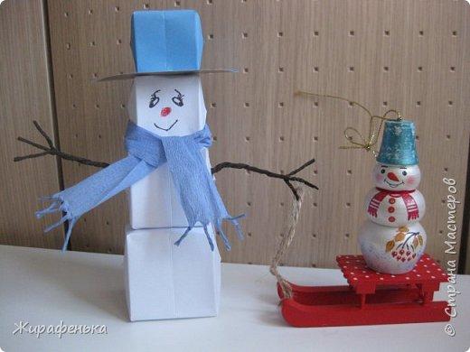 Этого милого снеговичка сделала моя соседка Вероника (7 лет) с моей помощью. Спасибо за МК Т.Н. Просняковой. фото 2