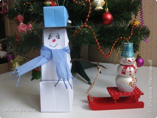 Этого милого снеговичка сделала моя соседка Вероника (7 лет) с моей помощью. Спасибо за МК Т.Н. Просняковой. фото 1
