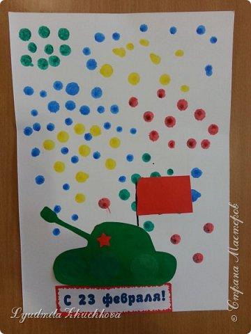 Такую картину сделали дети 4-х лет в подарок на 23 февраля. фото 2