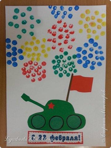 Такую картину сделали дети 4-х лет в подарок на 23 февраля. фото 3