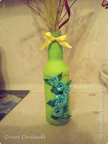 Бутылочки с розочками из полимерной глины фото 4