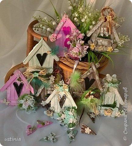 Натворилось ещё  домиков и скворечников!!!! Мой МК по ним здесь    http://stranamasterov.ru/node/1000482. Скорей бы уже лето!!! Так хочется Ярких цветов!!!! фото 12