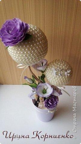 Свадебный топиарий из бусин фото 4