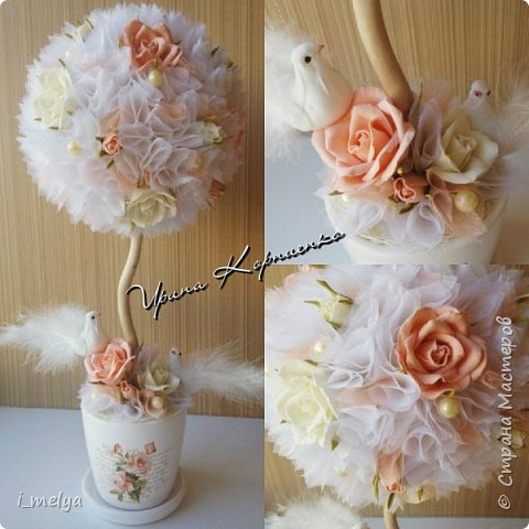 Свадебный топиарий из сизаля, цветы из фоамирана фото 1