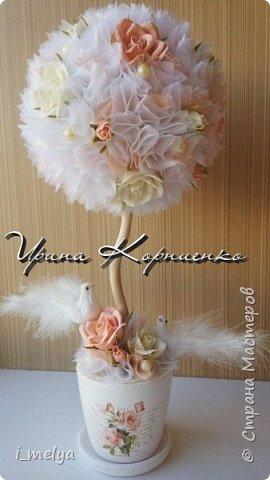 Свадебный топиарий из сизаля, цветы из фоамирана фото 4