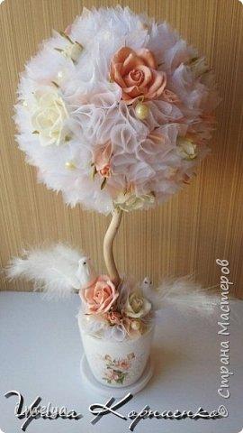 Свадебный топиарий из сизаля, цветы из фоамирана фото 2