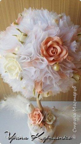 Свадебный топиарий из сизаля, цветы из фоамирана фото 5