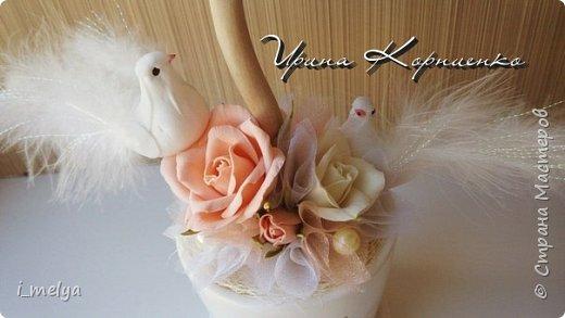 Свадебный топиарий из сизаля, цветы из фоамирана фото 3
